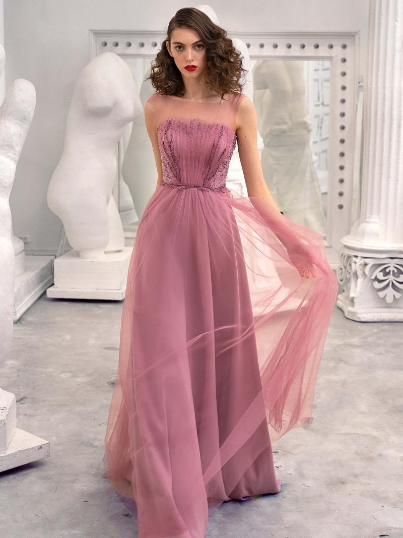 A-line formal dress with illusion straight neckline and V-back