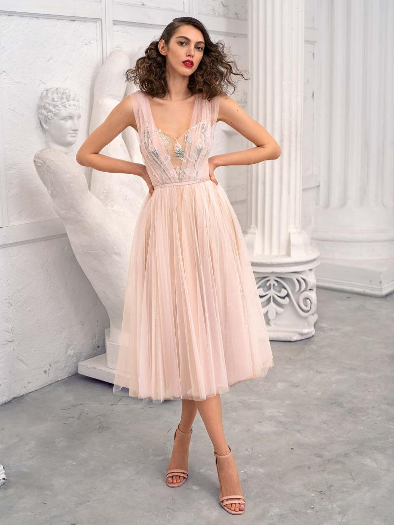 Tulle A-line evening dress with layered skirt
