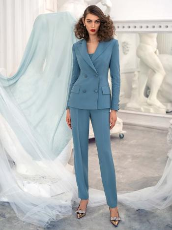 Three-piece pantsuit with top and jacket