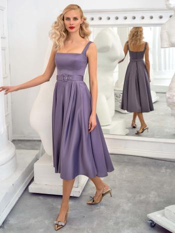 Satin A-line cocktail dress with thick straps and square neckline
