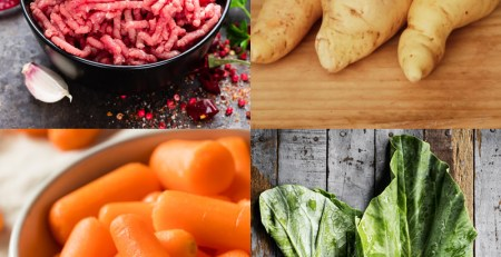 Papinha de Carne, Mandioquinha, Cenoura e Couve
