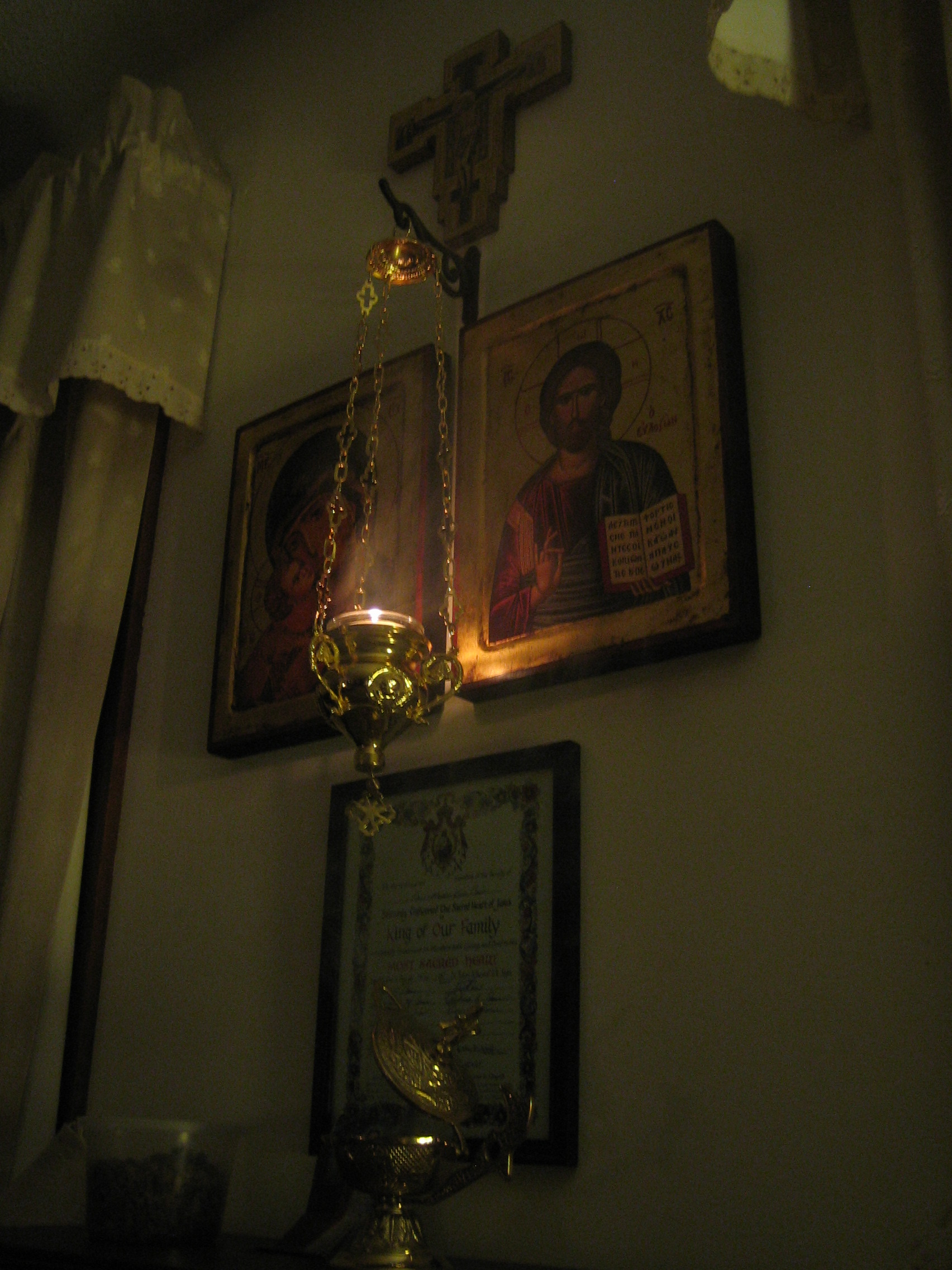 With the lit lantern and the smoke of the incense rising with our prayers.