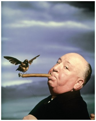 """USA. British filmmaker Alfred HITCHCOCK, during the filming of """"The Birds"""". 1962."""