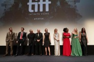 "Rupert Evans, Mark Hildreth, David Strathairn, Peter Riegert, Molly Parker, Valorie Curry, Uzo Aduba, Dakota Fanning and Jennifer Connelly are seen at Lionsgate's ""American Pastoral"" Premiere at the 2016 International Film Festival on Friday, Sept. 9, 2016, in Toronto. (Photo by Eric Charbonneau/Invision for Lionsgate/AP Images)"