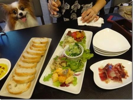 神奈川県藤沢市のペット同伴可のバースタイルのレストランバッカスの前菜と生ハムと愛犬パピヨンのアリア