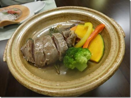 しぶごえ館山の夕食牛ヒレの松葉焼き調理後