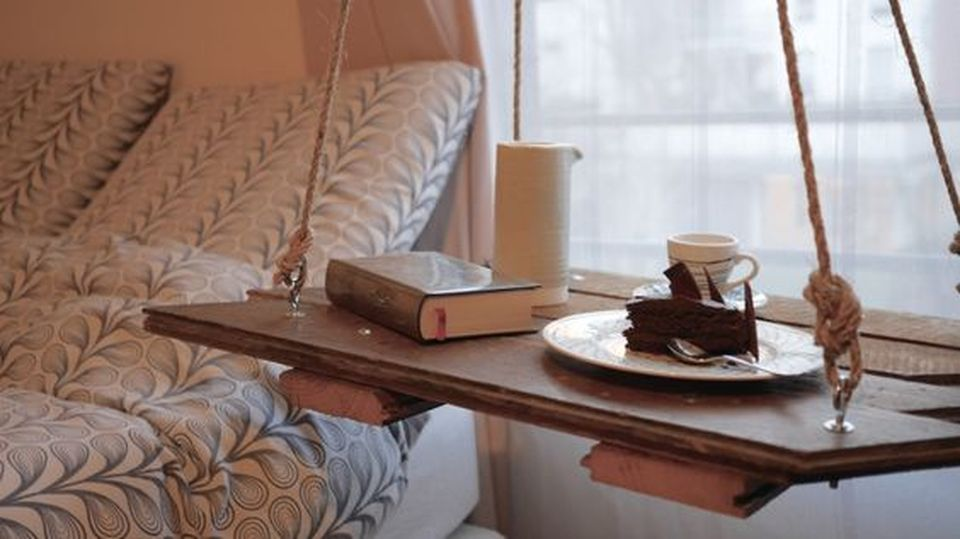 Hanging Side Table With Rope Design
