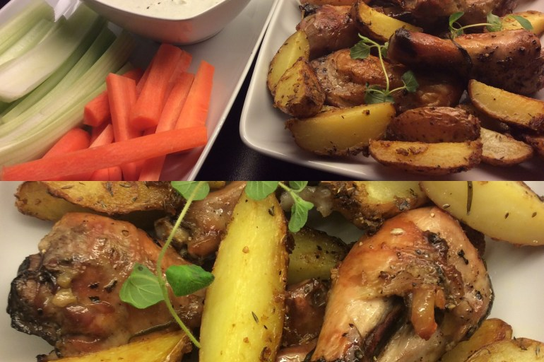 Marinerte kylling klubber & blåmuggost dipp