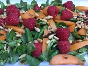 Sommersalat med aprikoser, pinjekjerner og kremet balsamico