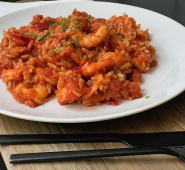 Scampi med ris. Middag på 15 minutter