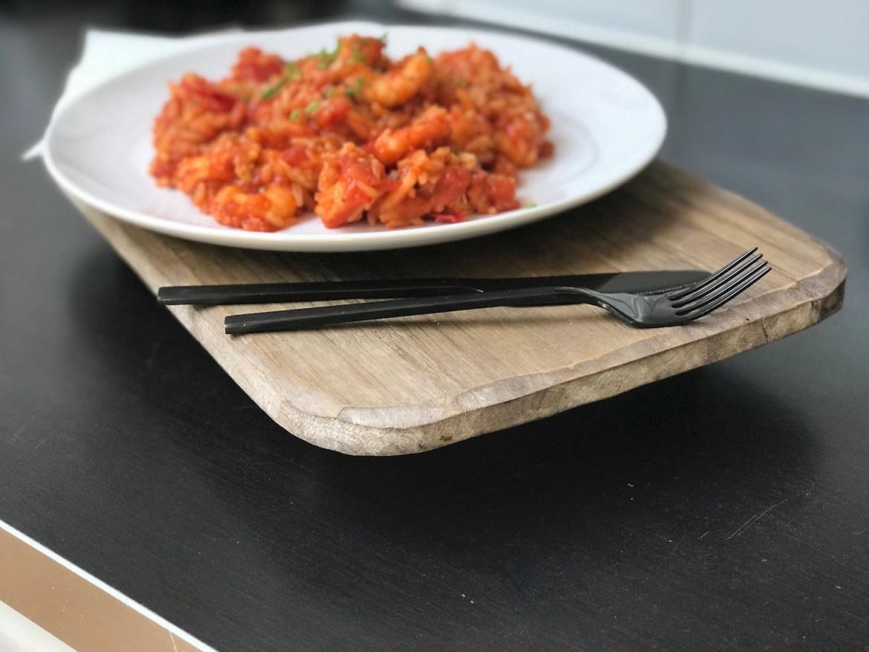 Scampi og ris. Middag på 15 minutter