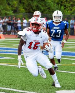 PW's Christian Jones took the open road to get a first down on Saturday against Norristown.