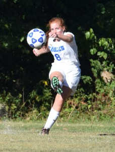 Norristown's Emily Schools plays a corner kick against Pottstown Monday. (Austin Hertzog - Digital First Media)