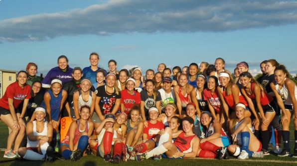 Two-time Olympian Julia Reinprecht visited the Upper Perkiomen field hockey team's practice on Thursday afternoon. (Thomas Nash - Digital First Media)