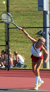 Owen J. Roberts' Jacey Caplan serves at No. 3 singles Wednesday against Spring-Ford. (Austin Hertzog - Digital First Media)