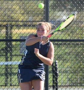 Spring-Ford's Jessica Leach follows through on a forehand during her match at No. 3 singles against Methacton's Sydney Markowitz Wednesday. (Austin Hertzog - Digital First Media)
