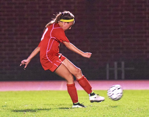 Owen J. Roberts' Caroline Thompson hits a long free kick for a goal in the second half Thursday against Boyertown. (Austin Hertzog - Digital First Media)