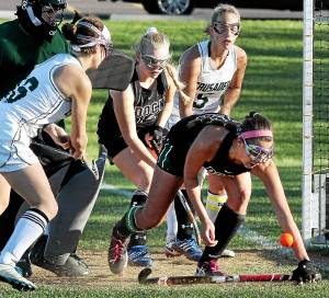 Bob Raines--Digital First Media A shot by Julianna Connors (Lansdale Catholic) hits Jill Bolton (Christopher Dock) on her forearm, preventing a score while goal keeper Liz Wanamaker was out of position Nov. 4, 2016.