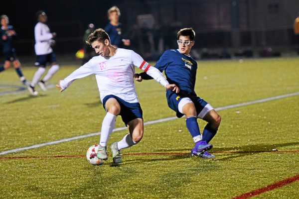 Hill's Jake Fetterman controls the ball as Penn Charter's Christian Lemmo pressures. (Austin Hertzog - Digital First Media)