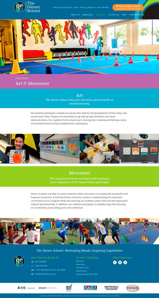 The Diener School Art & Movement WordPress Website