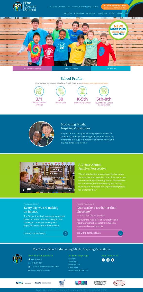 The Diener School Homepage WordPress Website