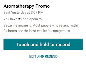 confirmation button MailChimp Touch and hold to resend email campaign