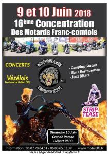 16E CONCENTRATION DES MOTARDS FRANC-COMTOIS – VÉZÉLOIS (90) @ Vézélois | Vézelois | Bourgogne Franche-Comté | France