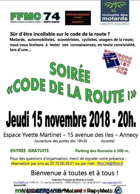 Soirée code de la route – FFMC 74 – Annecy (74)