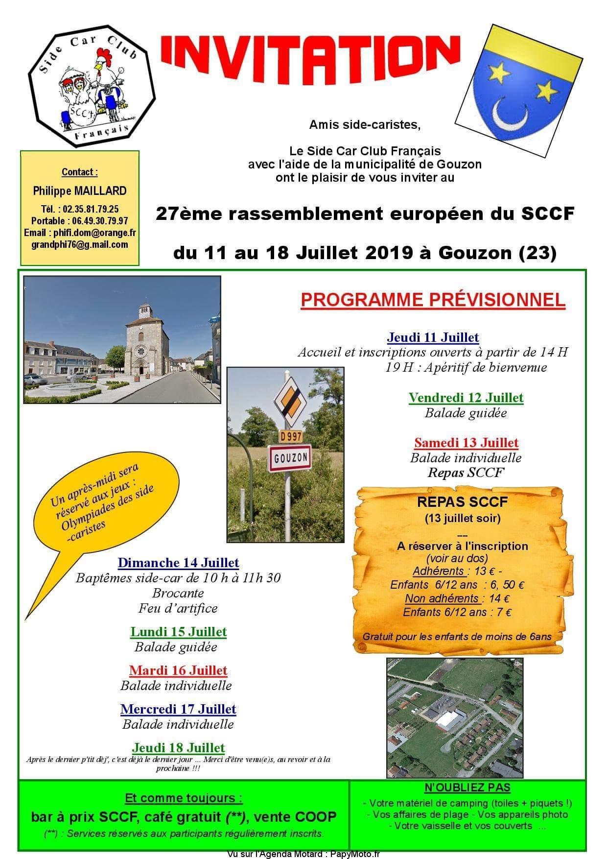 27e Rassemblement  Européen du Side Car Club Français – Gouzon (23)
