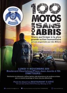 100 Motos pour sans abris - United Riders - Tours (37) @ Place Jean Jaures | Tours | Centre-Val de Loire | France