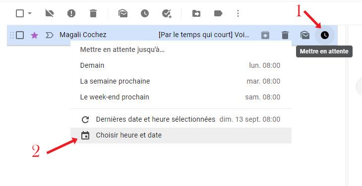 capture d'écran explicative pour mettre un email en attente site : https://par-le-temps-qui-court.fr de Magali Cochez