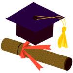 卒業証書と角帽(JPEG)