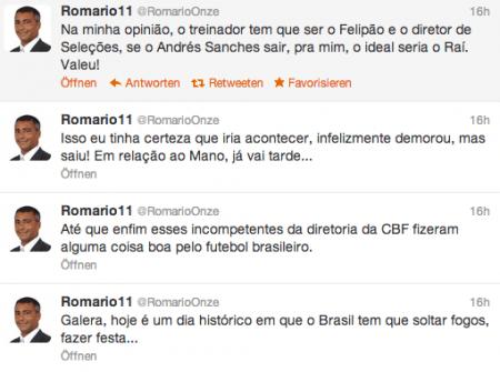 Romário freut sich über Entlassung des Nationaltrainers