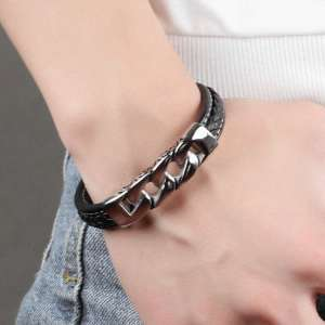Leather Bracelet Box Chain