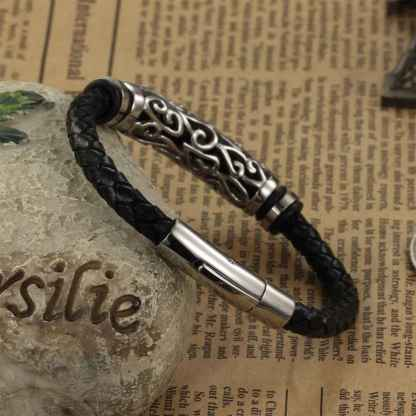 Leather Bracelet Braid Vintage