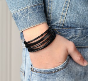 Leather Chain Cuff Bracelet