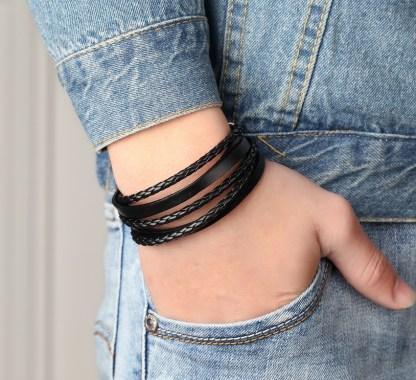 Leather Chain Cuff Bracelet
