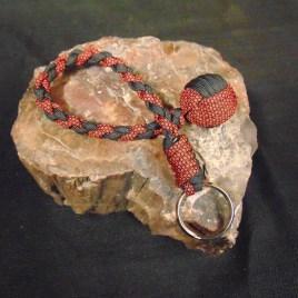 Red Diamond and Black Monkey Fist Keychain