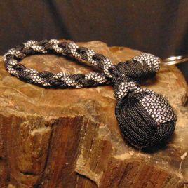 Black, Black Diamonds Monkey Fist Key Chain