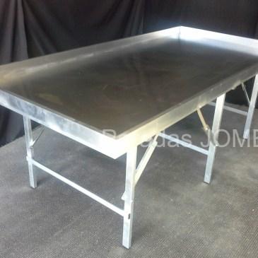 Mesa de aluminio reforzada plana y con bordillo MOD-12