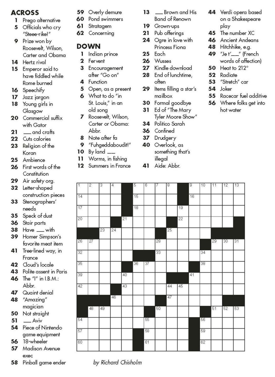 Crossword Puzzle Will Shortz