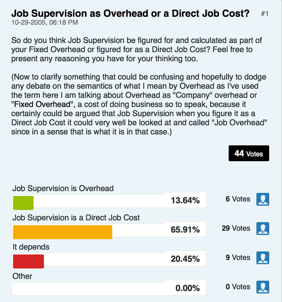 Job Supervision as Overhead or a Direct Job Cost