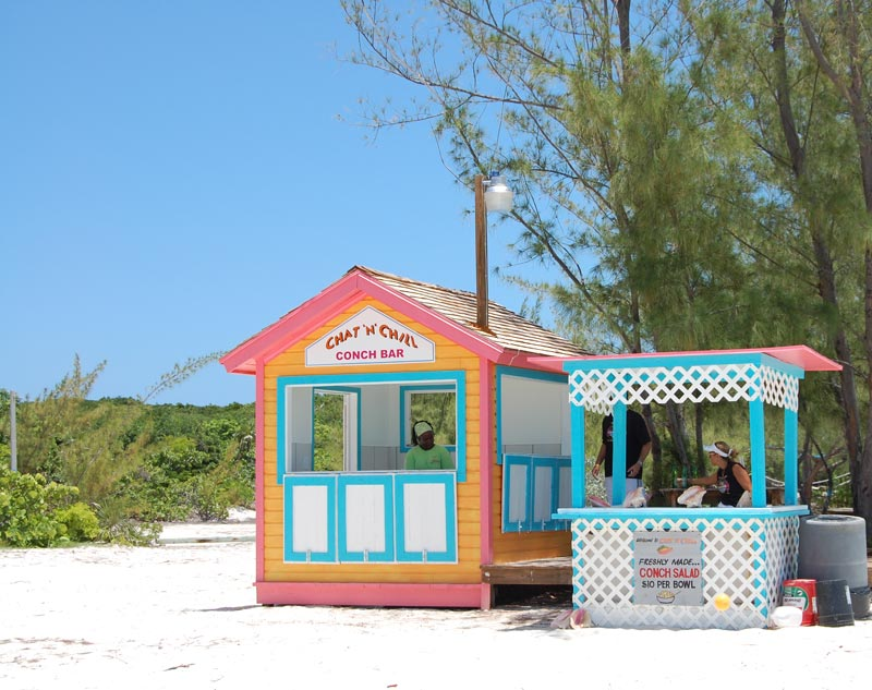 conch salad in the exuma with paradise bay