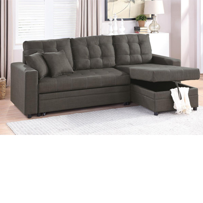 tufted cushions sleeper sectional sofa in 2 colors
