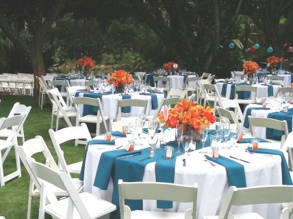 Teal and Orange Wedding Reception