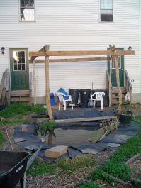 filled pond and trellis