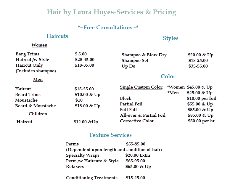 Laura Hoyes Pricing