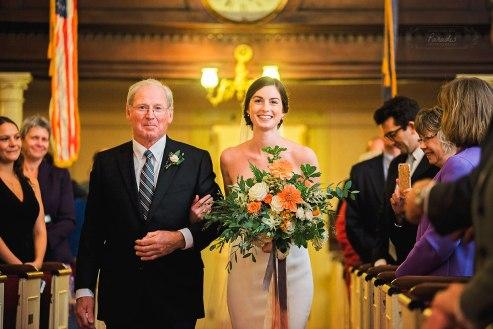 First Parish Portland Maine Bride & Father Wedding Ceremony Paradis Photography
