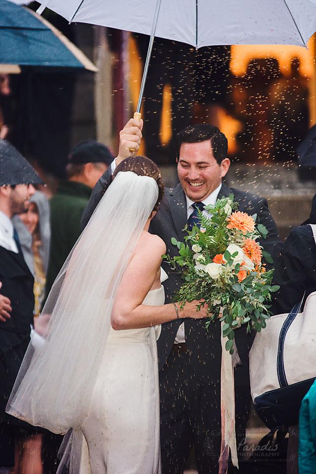 First Parish Portland Maine Wedding Recessional Bride Groom Umbrellas Rain
