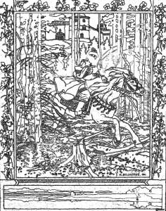 イワン・ビリービン Ivan Bilibin_塗り絵 coloring_Maria Morevna and Koschei the Wizard_09-rinkaku01